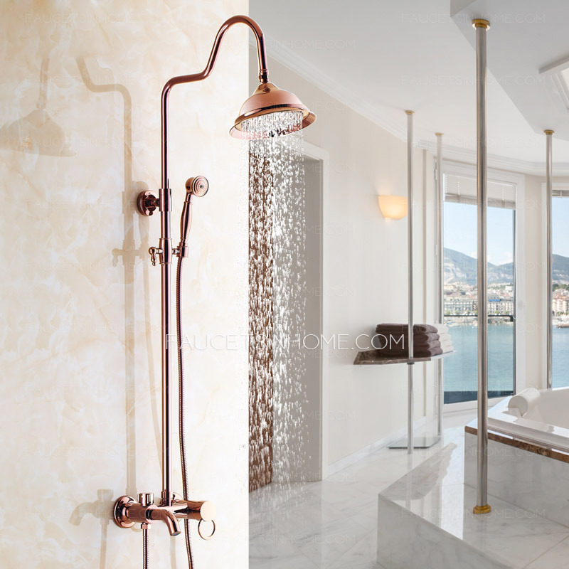 Retro Rose Gold Outside Top And Hand Shower Faucets