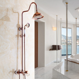 Retro Rose Gold Ceramic Outside Top And Hand Shower Faucets