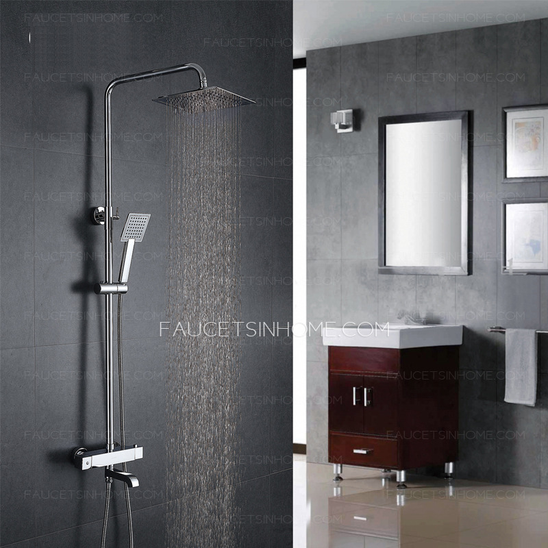 Shower With Hand Shower Part - 46: Modern Thermostatic Square Top And Hand Shower Faucets