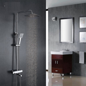 Modern Thermostatic Square Top And Hand Shower Faucets