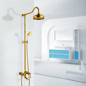 Luxury Polished Brass Outside Bathroom Shower Head And Faucets