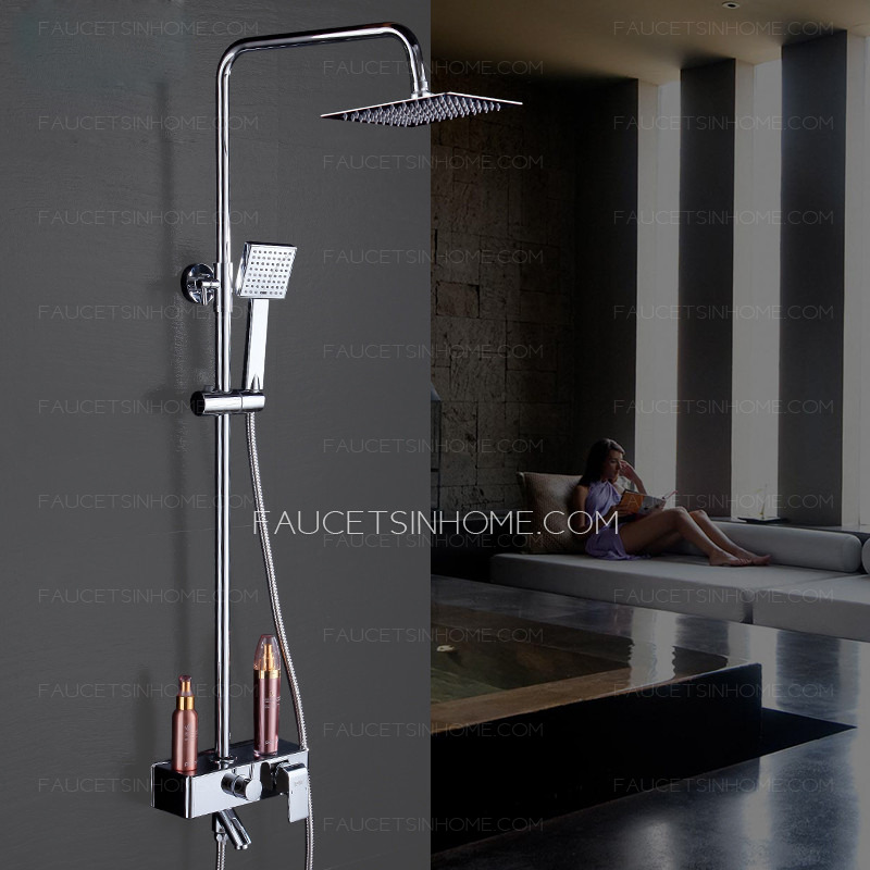 Modern Square Shaped Brass Hand Shower Faucet With Shelf