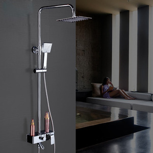 Modern Square Shaped Brass Hand Shower Faucet With Shelf(Stainless Steel Top Shower)