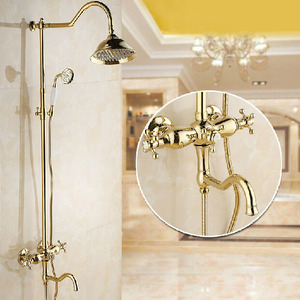 Antique Brass 2 Handle Vintage Shower Faucets System
