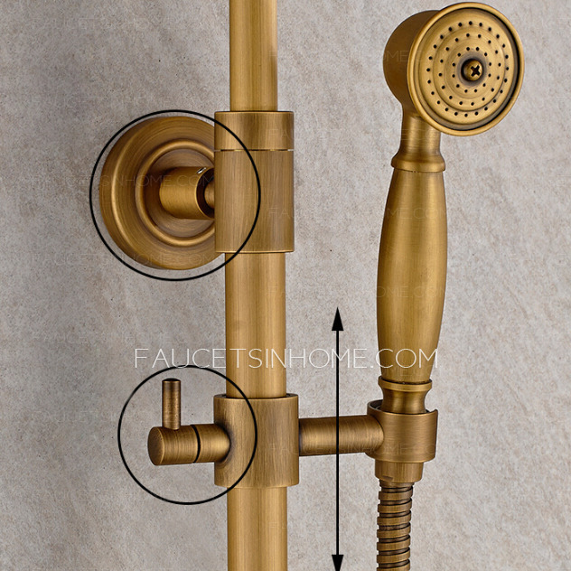 Vintage Brass Bathroom Outdoor Shower Faucets With Shelves