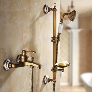 Designer Brass Four Hole Wall Mounted Tub And Shower Faucet With Soap Dish