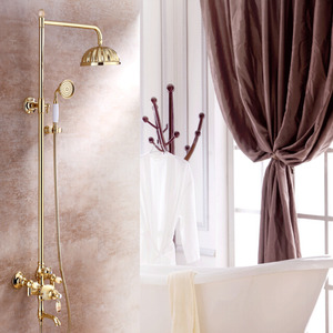 Luxury Jade Polished Brass Outdoor Shower Faucets System