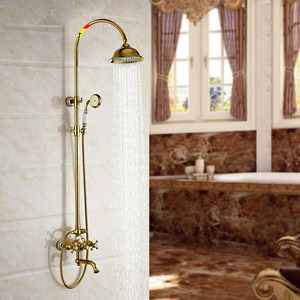 Vintage 2 Handle Ceramic Polished Brass Shower Faucets
