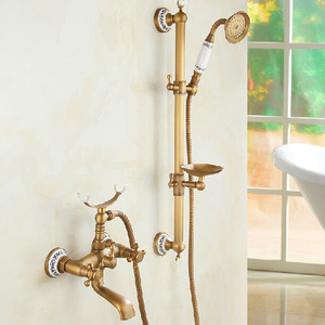 Brass Telephone Hand Shower Faucets System With Soap Dish