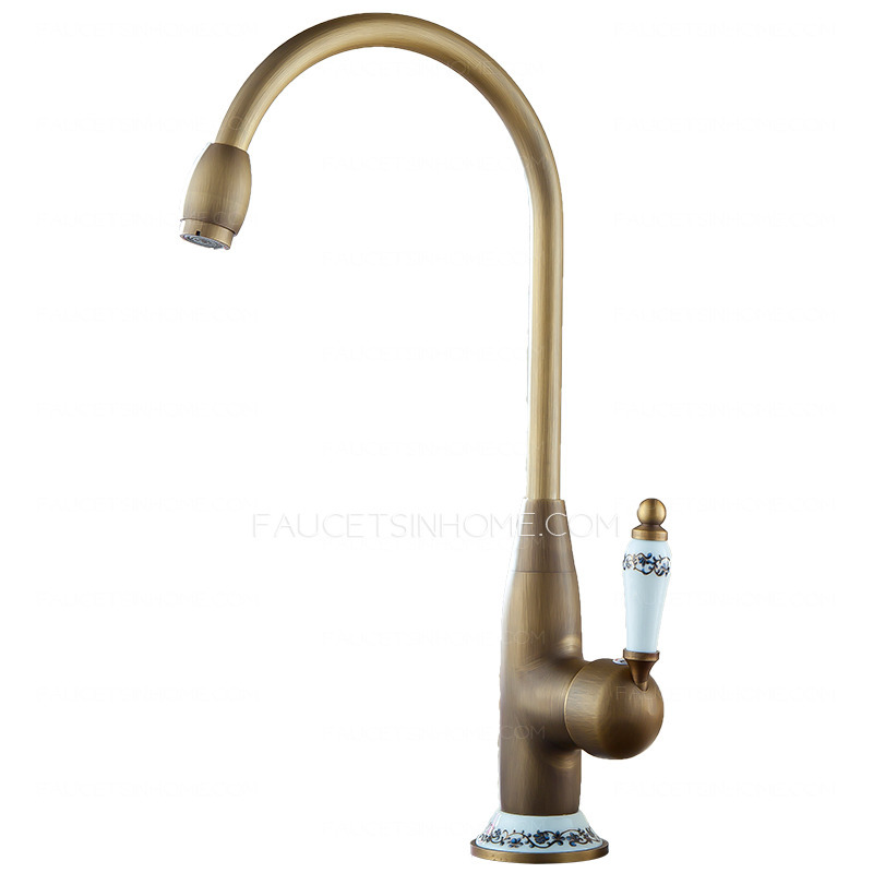 High Arc Antique Brass Ceramic Kitchen Faucets