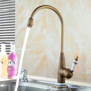 Designer High Arc Antique Brass Ceramic Kitchen Faucets