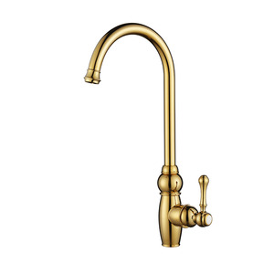 Luxury Golden High Arc Rotate Brass Kitchen Sink Faucets