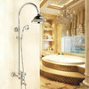 Vintage Silver Ceramic Brass Outdoor Top And Shower Faucets