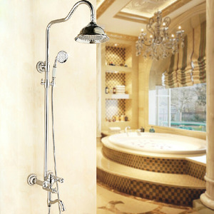 Advanced Silver Brass Crystal Handle Bathroom Shower Faucets