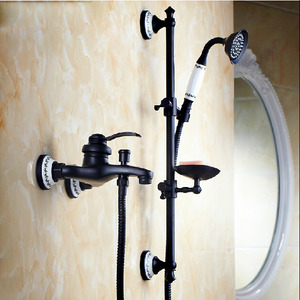 Vintage Oil Rubbed Bronze Exposed Hand Shower Faucets With Soap Dish