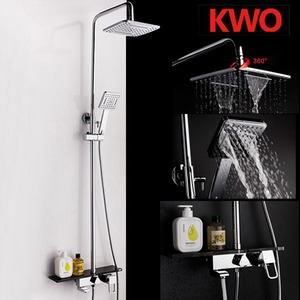 Quality Brass Square Shaped Shower Faucets With Wood Shelf