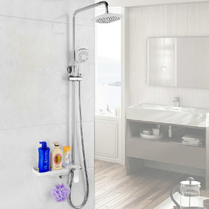 Modern Brass Rain Shower Faucet For Bathroom With Shelf