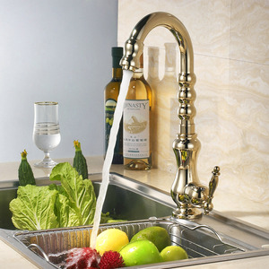 Luxury Polished Brass Golden Kitchen Faucets 360 Degree Rotate