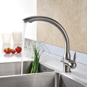 Best Brass Brushed Nickel Kitchen Faucets Two Handle