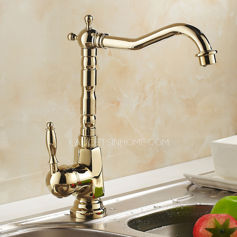 Antique Golden Rotate European Style Brass Kitchen Faucets