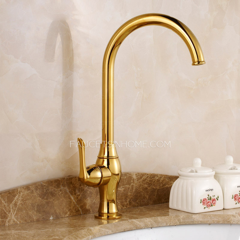Luxury Gold Polished Brass Kitchen Faucets One Hole
