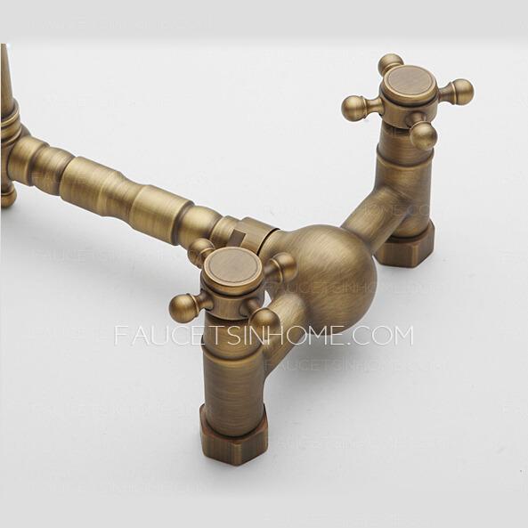 Heightening 2 Handle Bronze Kitchen Sink Faucets