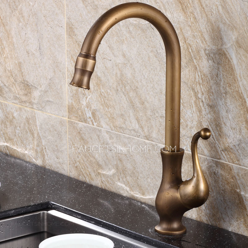 Best antique brass rotate old kitchen sink faucets for Best faucet for kitchen sink