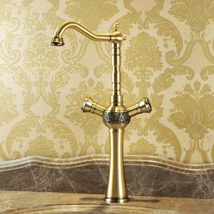 Heightening Antique Bronze 2 Handle Kitchen Sink Faucets