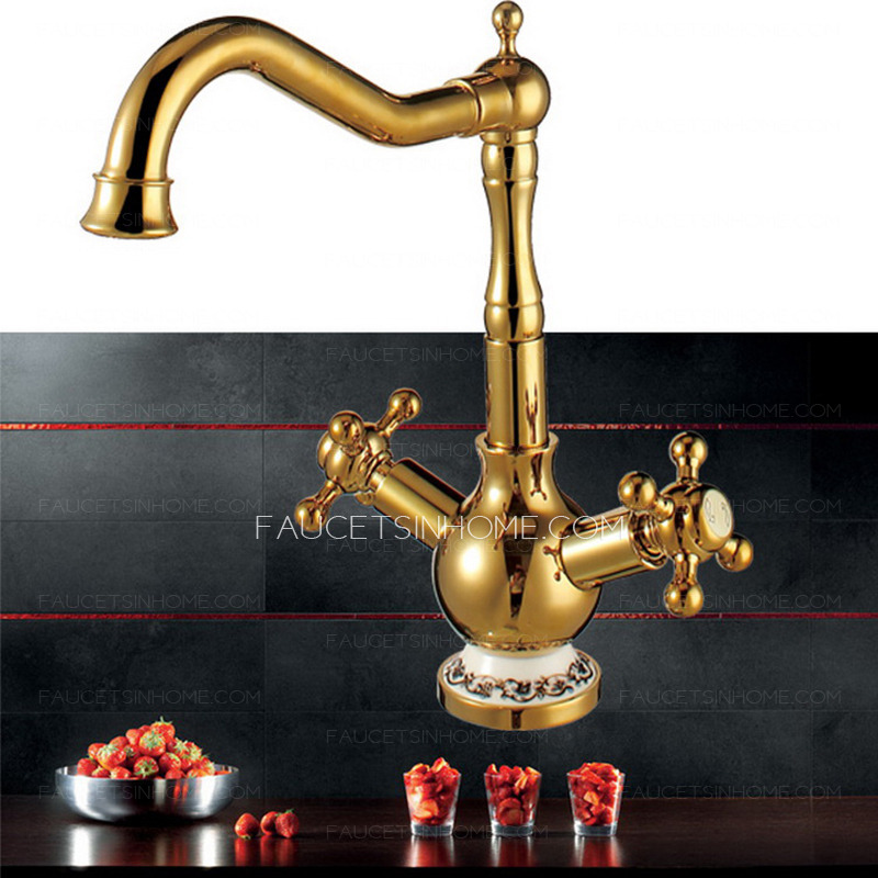 High End Rotate Polished Brass Kitchen Sink Faucets