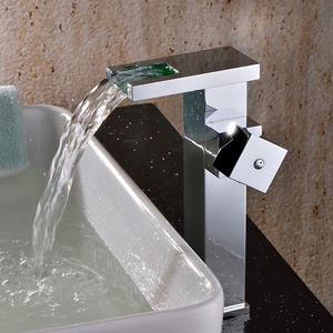 Quality Brass Waterfall Square Shaped Bathroom LED Faucets