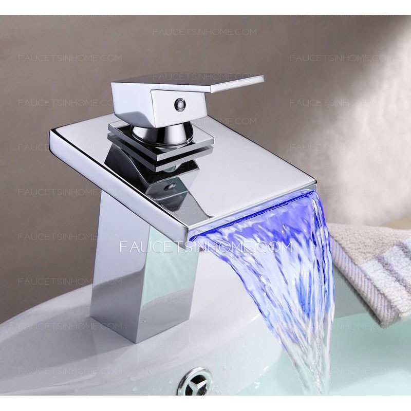 Automatic Waterfall Brass Bathroom Led Faucets One Hole