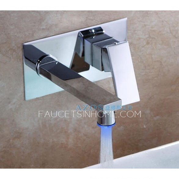 Best Brass Two Hole Concealed Wall Mount LED Faucets