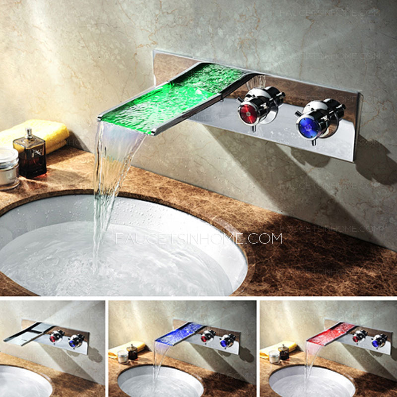 High End Waterfall Wall Mount 2 Handles LED Faucets