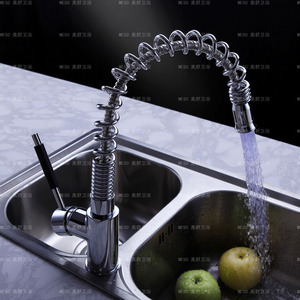 Best Single Hole Brass Pullout LED Faucets With Spring Pipe