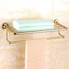 Luxury Brass Bathroom Towel Shelves Wall Mounted
