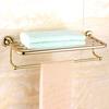 Luxury Brass Bathroom Towel Shelves Wall Mounted