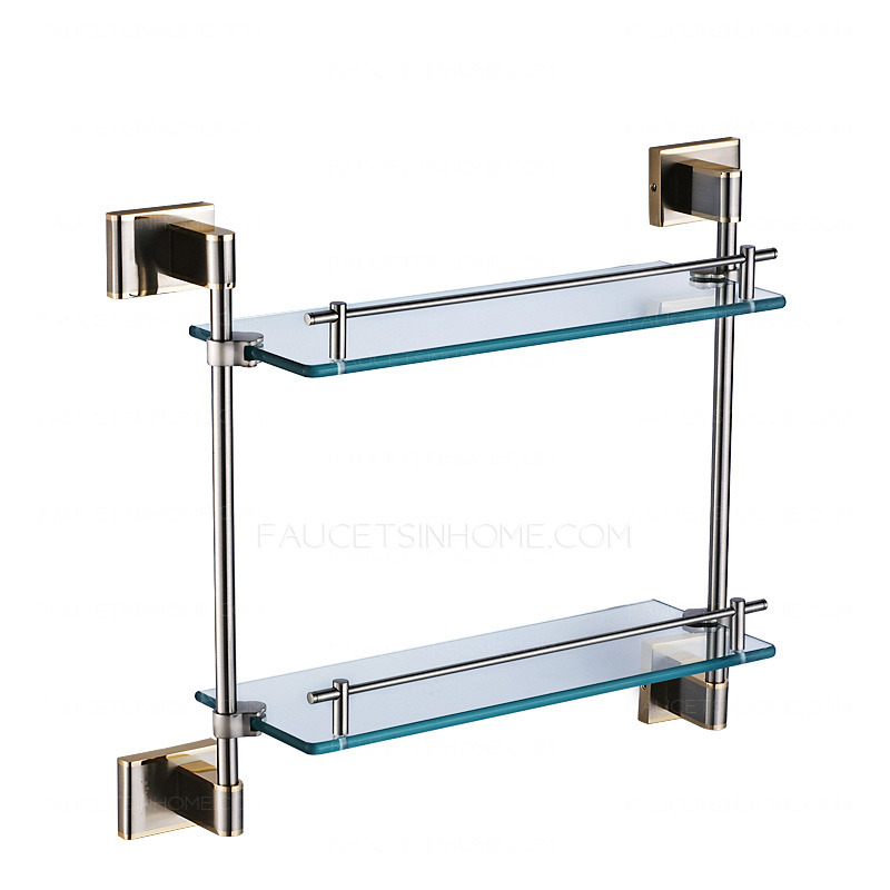 Modern double brass glass bathroom shelves for Bathroom glass shelves