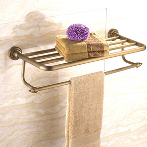Antique Brass Brushed Bathroom Wall Shelves