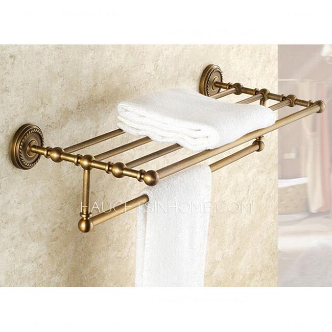 Brass Bathroom Towel Shelves