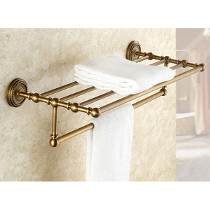 Retro Style Antique Brass Bathroom Towel Shelves