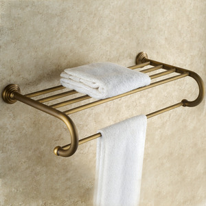 Affordable Antique Brass Brushed Wall Mounted Bathroom Shelves