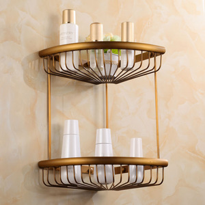 Antique Brass Triangle Double Bathroom Corner Shelves