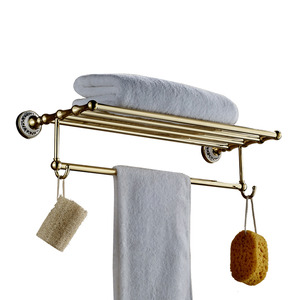 On Sale Brass Wall Mounted Bathroom Metal Shelves With Hooks