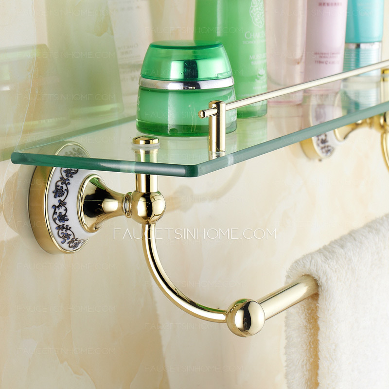 european style brass bathroom wall glass shelves