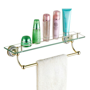 European Style Brass Bathroom Wall Glass Shelves