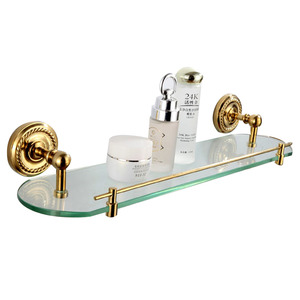 Advanced Single Brass Glass Bathroom Shelves
