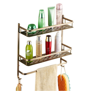 Antique Brass Double Bathroom Wall Shelves