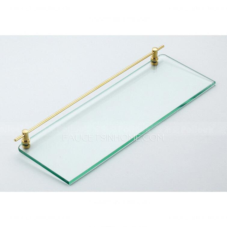 Double Brass Glass Shelves For Bathroom