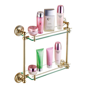 Golden Double Brass Glass Shelves For Bathroom