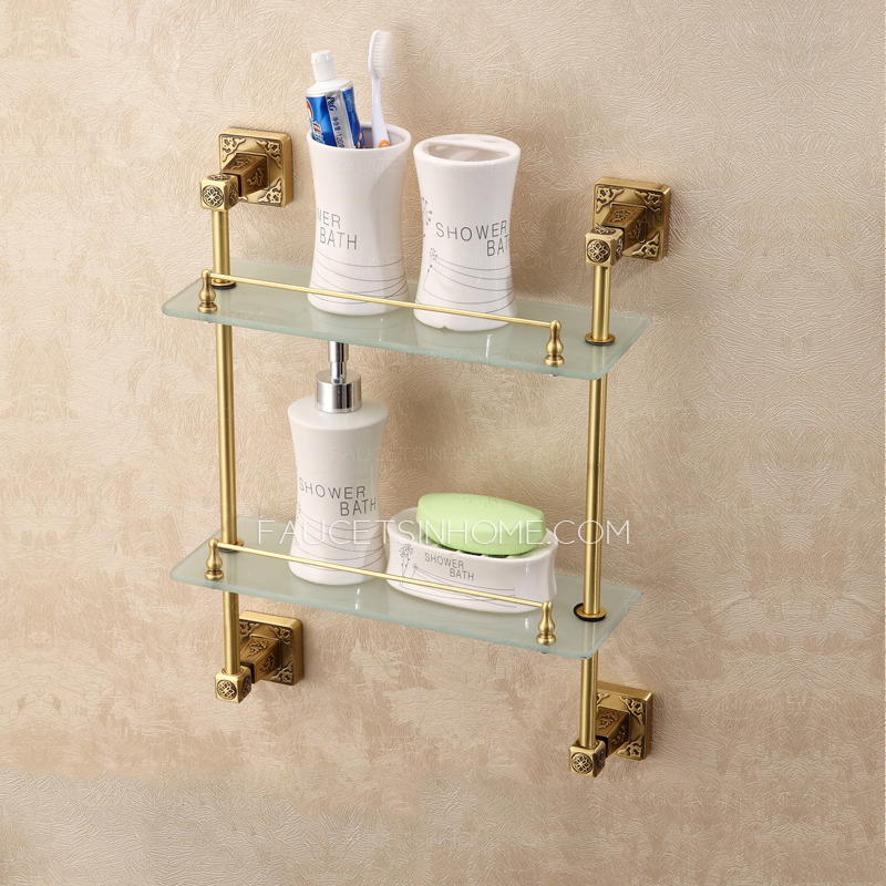 Expensive Brass Antique Bronze Bathroom Glass Shelves